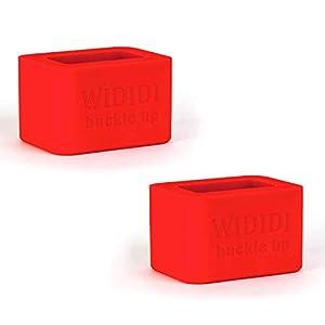 Wididi Juego de 2 soportes de silicona para la pieza de enganche del cinturón de seguridad – Accesorios de autos para sistema de seguridad – Ideal para las sillas de coche de los niños – rojo