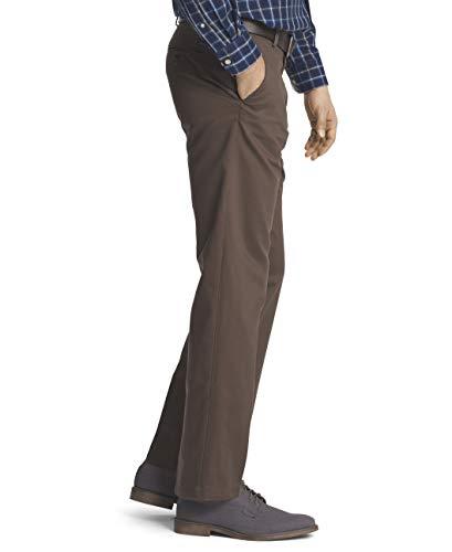 IZOD Pantalon plat pour homme Chino américain Coupe droite - Marron - 34W x 30L