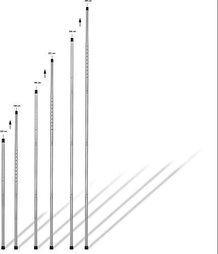 normani Outdoor Sports EXTREM Stabile Stützstange Aufstell-Stange Zeltstange von 123 cm bis 280 cm höhenverstellbar - 5 Segmente mit kurzem, ultraleichtem Packmaß - 6063 Aluminium
