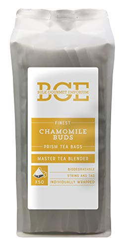 Bulk Gourmet Emporium Finest Chamomile Tea, Individually Wrapped Biodegradable Prism Tea Bags in Recyclable Bag, (50-Pack)