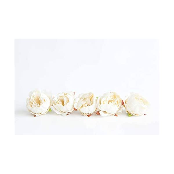 Wedding Artificial Flora – 10 Mini Peonies in Ivory White – Silk Artificial Flowers