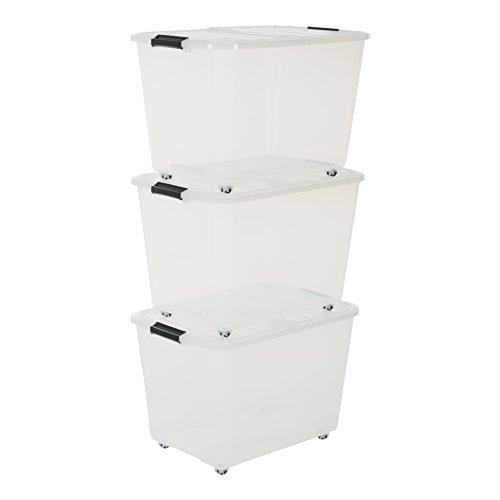 Iris TBRH-60 - Set de 3 Cajas con Tiendas y Ruedas, 60 L, Sistema de Orden, Apilables, Plástico, color Transparente
