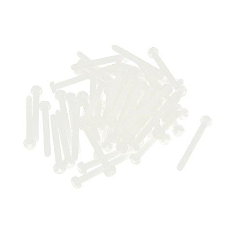 SOURCING MAP sourcingmap M3 x 30mm cruz Phillips Nylon tornillos de máquina de cabeza Pan blanco 50 PCS