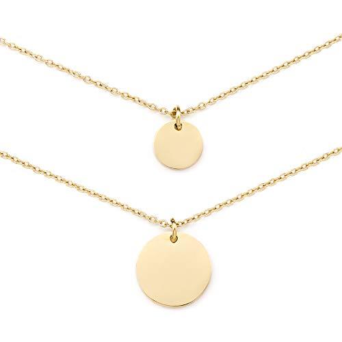 Heideman mehrreihige Halskette Damen Kreise aus Edelstahl Silber Gold Farben poliert Kette für modische Frauen mit Anhänger