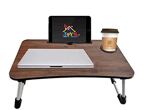 S Toys House Foldable Bed Study Table Portable Multifunction Laptop Table Lap Desk for Children Foldable Table Work Office Home with Tablet Slot & Cup Holder Bed Study Table (Wooden)