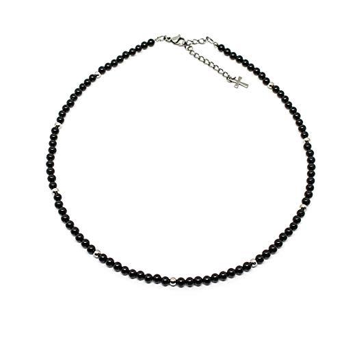 Collana uomo con perle di onice da 4 mm e perle acciaio