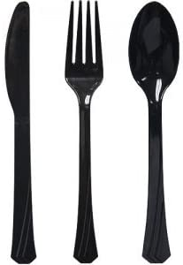 Tiger Chef Plastic Cutlery Set Heavy Duty Colored Plastic Silverware Includes 32 Forks 32 Teaspoons product image
