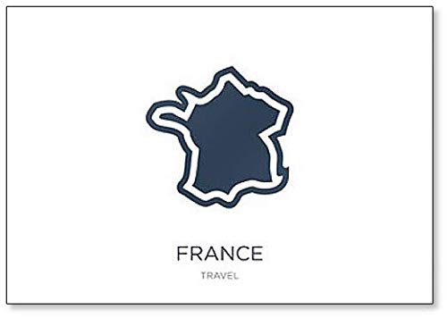 France Travel Map Abstract Illustration Classic Koelkast Magneet