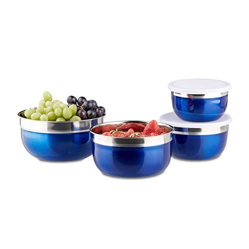Relaxdays 10020833 Bol mélangeur avec couvercle lot de 4 saladiers en inox plusieurs tailles HxlxP: 9 x 18,4 x 18,4 cm, bleu