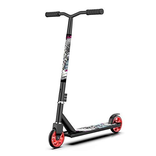 Kickscooter Pro Athletic Roller für Jugendliche Erwachsene, Park Road Scooter - Faltbare Stunt Scooter Intermediate Nicht Elektrische Motorroller, Last 150kg (Color : Black)