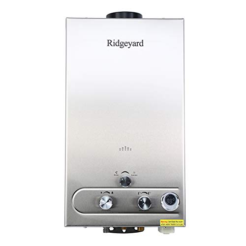 Ridgeyard 3.2GPM LPG Propane Gas Water Heater 12L Digital Display Tankless Stainless Instant Boiler Hot Water Heater Boiler Burner Bathroom Supplies