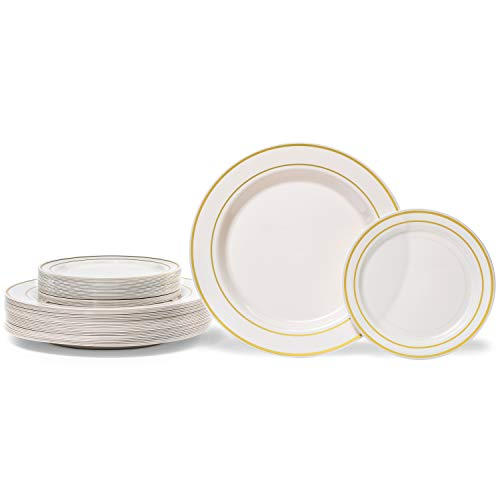 """Premium Hard Plastic Gold Rimmed Ivory Plate Set By Oasis Creations - 25x9'' & 25x6"""" - Washable & Reusable - Party Supplies For Birthdays, Celebrations, Buffets, Fiestas, Catering & More"""