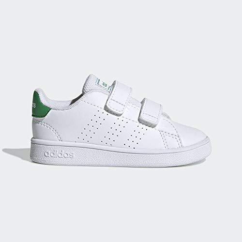 Adidas Unisex Baby Advantage Indoor buty do tenisa, białe, wielokolorowa - Ftwwht Green Gretwo - 26 EU