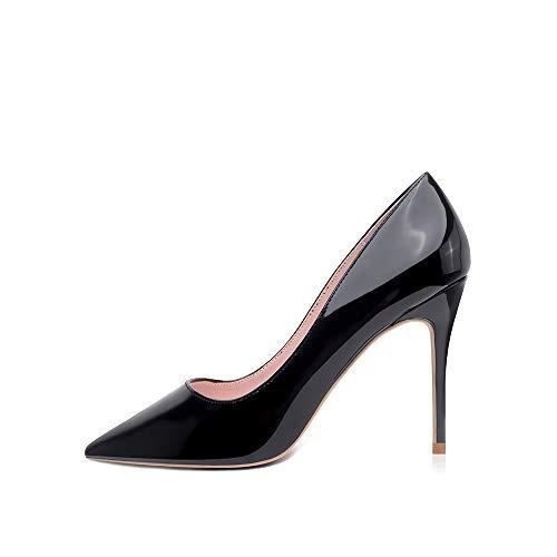 Hoher Absatz, 10 cm / 3,94 Zoll Stiletto High Heel Schuhe für Frauen Spitz Party Abendkleid Pumps Prom 10CM-SZ-38 EU/ Etikettgröße- 8,Schwarz