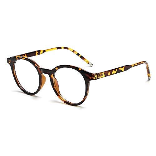 Fashion Vintage Ultraleichte runde Strahlenschutzbrille mit blauem Licht, blockierende Brille für Computerspiele, flache Spiegelbrille (Leopard)