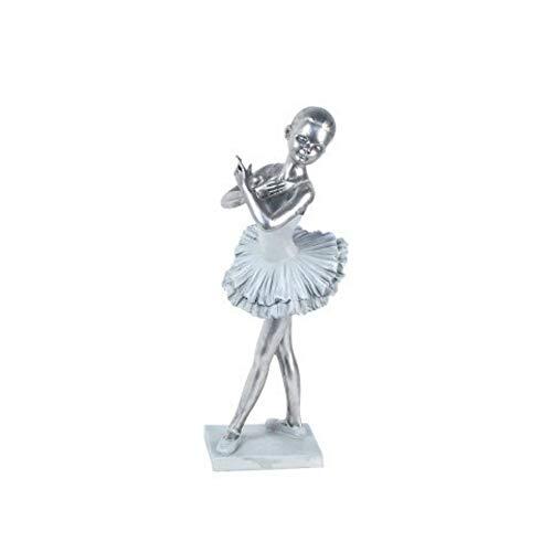 CAPRILO Figura Decorativa de Resina Bailarina Ballet con Base. Adornos y Esculturas. Decoración Hogar. Regalos Originales. 29 x 10 x 9 cm.