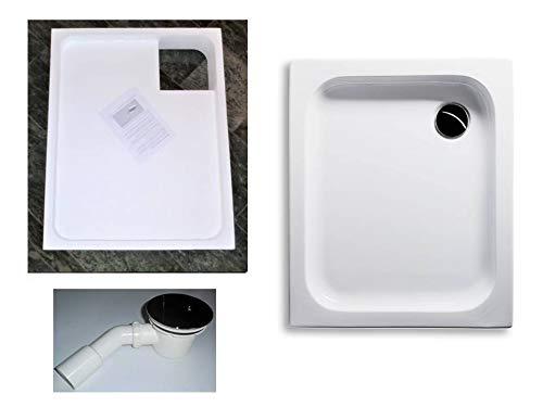 KOMPLETT-PAKET: Duschwanne 90 x 75 cm flach 6,5 cm weiß Acryl + Styroporträger/Wannenträger + Ablaufgarnitur chrom DN 90