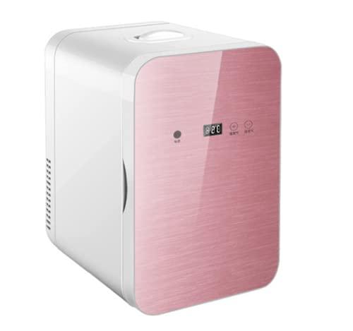 MATHOWAL Nevera Mini 8L, Nevera Pequeña Portátil, Bajo Consumo Mini Refrigerador Mini-frigorífico, Mini Refrigerador para Automóvil Doméstico, Temperatura de Pantalla Digital Ajustable (Oro Rosa)