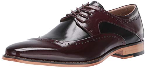 STACY ADAMS Men's Tammany Dress Leather Oxford, Burgundy and Black, 8 M US