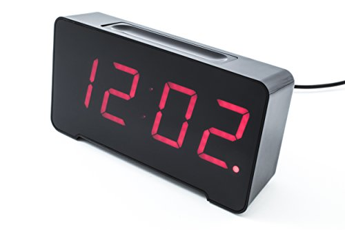 Sandman Clocks Charging Station, 4 USB Ports for Charging, Auto-dimming Display, Large Red 12/24Hr Display (Black)