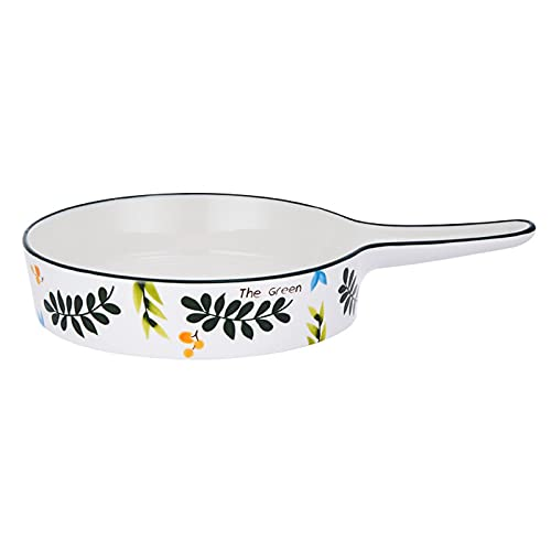 wantanshopping Baking Dish Ceramic Baking Dish - Round Bakeware with Single Handle - Porcelain Baking & Meal Dual-Purpose Dinner Plates, 12Inch Baking Pan Oven Dishes