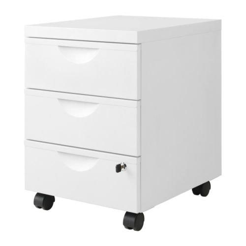 Ikea ERIK Schubladeneinheit mit 3 Schubladen auf Rollen, 41 x 57 cm, Weiß