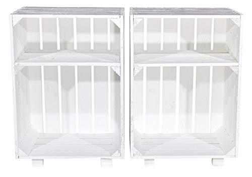 moooble 2er Neuer weißer Nachttisch 30,5cm x 40cm x 54cm Nachtschrank Abstelltisch Regalkiste Apfelkiste/Weinkiste Obstkisten Weiss Tisch Schrank Ablage Landhaus klassisch