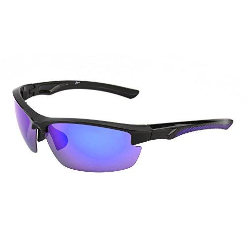 JM Sport Polarisiert Sonnenbrille Dame Herre Halb Randlos Radfahren Laufen Angeln Golf Wandern(Glänzend Schwarz/Polarisiertes Revo Blau)