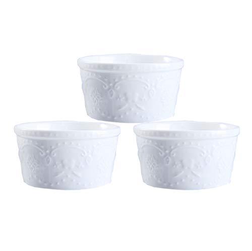 WXXT ramequines,moldes Horno,ramequines thermomix,Molde de Porcelana oz,Plato para Hornear soufflé para pudín de Caramelo Apto para Horno,Molde para Hornear clásico tazón pequeño(Blanco)