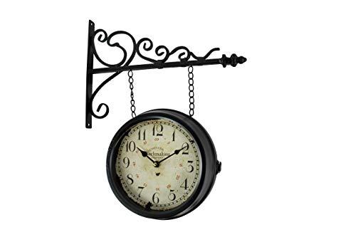 DARO DEKO Wand-Uhr Bahnhofs-Uhr doppelseitig Ø 23 cm