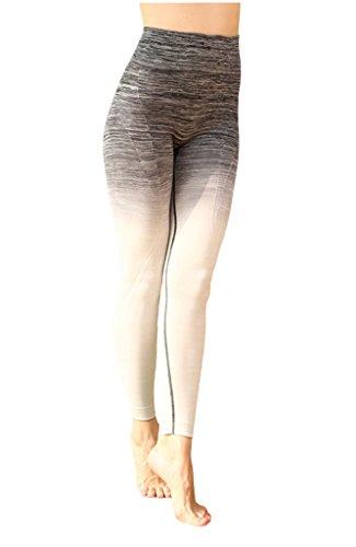 Lotus Instyle Damen Yoga Hosen Farbverlauf Farbe Leggings Stretch Slimming Pants Gr. S / M, schwarz
