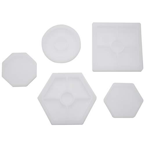 Senmubery 5Pcs DIY Molde de Silicona Coaster Incluido Molde Cuadrado del Hexágono del Círculo del Hexágono para Resina, Concreto, Cemento, Decoración Hogar