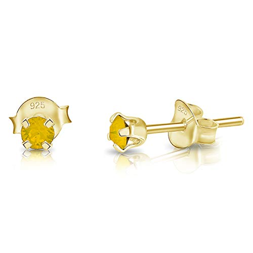 DTPSilver - 925 Sterling Silver Yellow Gold plated Round TINY Stud Earrings made with Glittering Crystals from Swarovski Elements - Diameter: 3 mm - Colour : Yellow Opal