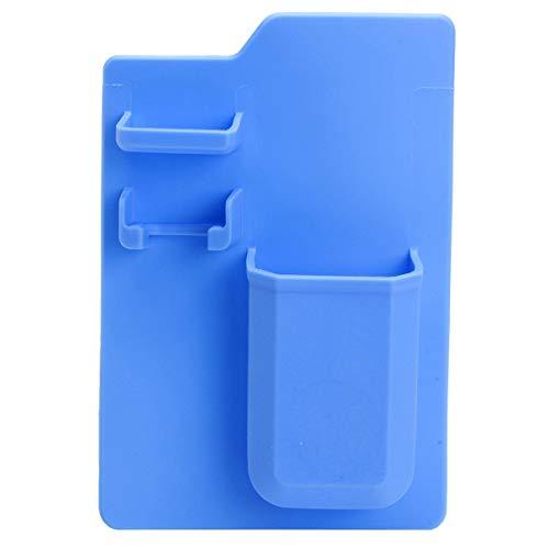 LUYOYO Soporte de silicona para cepillo de dientes de cocina y baño con pasta de dientes, organizador de espejo, estante de espacio de almacenamiento, color azul