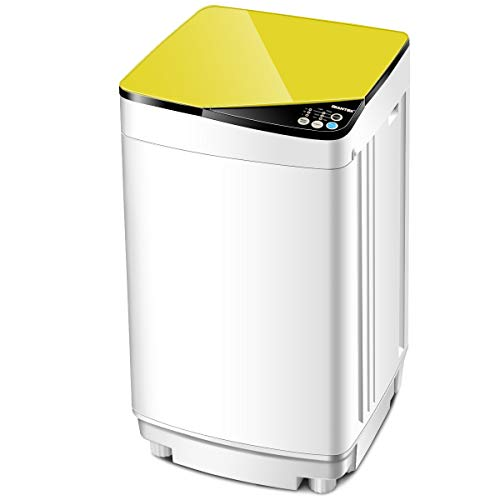 Giantex Full-Automatic Washing Machine Portable Washer and Spin Dryer 7.7lbs Capacity Compact Laundry Washer with Built-in Barrel Light Drain Pump and Long Hose for Apartments Camping (White & Yellow)