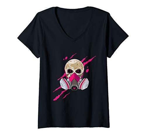 Damen Schädel mit Maske, Totenkopf mit Gasmaske T-Shirt mit V-Ausschnitt