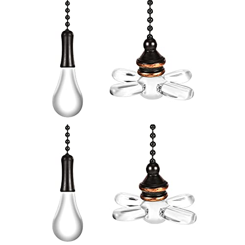 Ceiling Fan Pull Chain, Light and Fan Pull Chain Crystal Pull Chain for Light Pull Chain Extension for Bathroom Living Room Ceiling Light Fan Desk Lamp (4 Pieces)