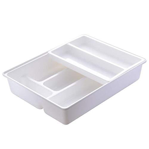 SCAYK Escritorio gaveta de Almacenamiento Caja de plástico de Cocina Acabado Cuadro de Gabinete Palillos Caja de cajón for Utensilios Organizador Cubiertos (Color : White)