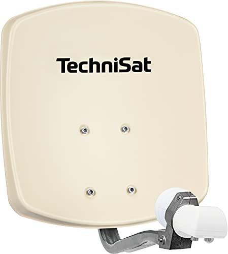 TechniSat DIGIDISH 33 – Satelliten-Schüssel für 2 Teilnehmer (33 cm kleine Sat Anlage - Komplettset mit Wandhalterung und Universal Twin-LNB) beige