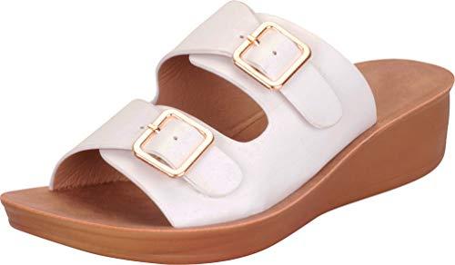 Cambridge Select Damen Schlupf-Sandale mit Schnalle und Zwei Riemen, Weiá (Weiß - White Pu), 36 EU
