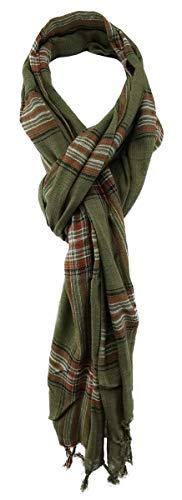 TigerTie sjaal in olijfgroen rood zilver zwart patroon - maat 180 x 50 cm.