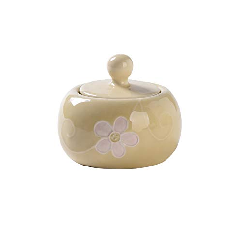 YIFEI2013-SHOP Azucarero Sugar Cowl Home Creative Ceramic Towl Salt Bowl Condujado Tarro con Tapa Café Can Tea Tea Coffee Una Buena Pareja (Blanco/Amarillo/Rosa) Azucarero de Cocina (Color : Yellow)