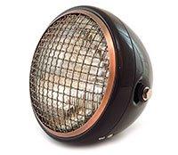 "7"" Side Mount Motorcycle Headlight - Gloss Black Bronze Clear - Vintage Custom Cafe Racer Brat Bobber Chopper"