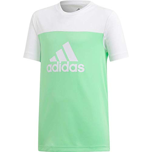 adidas - Maglietta a Maniche Corte Unisex per Bambini, Unisex - Bambini, T-Shirt, DV2919, Shock Lime/Bianco/Bianco, 128