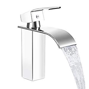 DAZAKA Grifos de Lavabo Monomando Cuadrado Cascada Estilo Moderno Adecuado para Baño, Inodoro