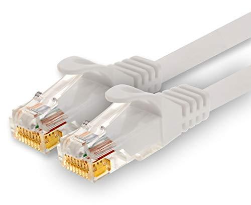 1CONN - 5,0m Netzwerkkabel, Ethernet, LAN & Patchkabel für maximale Internet Geschwindigkeit & verbindet alle Geräte mit RJ 45 Buchse Weiss - 1 Stück