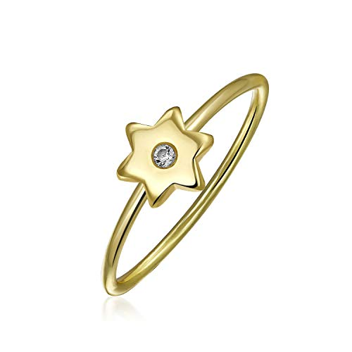 Minimalista CZ 14K Giallo Oro Placcato 925 Sterling Argento Midi Knuckle Stackable CZ Accent Celestial Patriotic Celestial Star Ring 1MM Band Per Teen Women