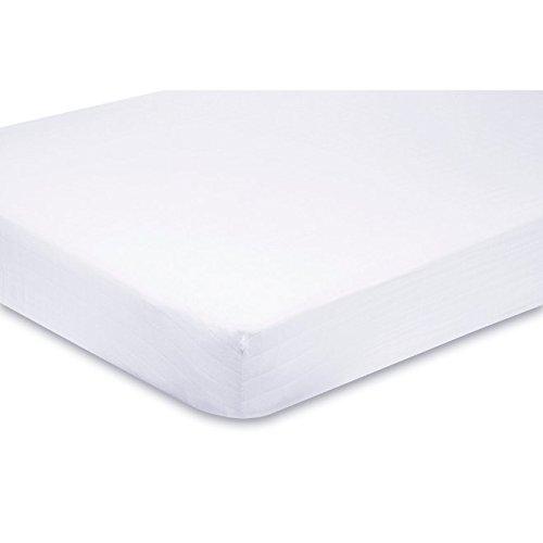 2 x Cama Junior - Sábana bajera ajustable para cama infantil - 100% algodón - 160 x 70 cm blanco blanco