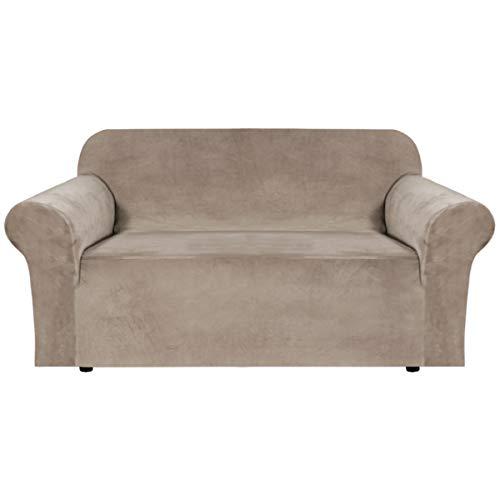 BellaHills Echte Samt Couchbezug für Sofa Schonbezüge Samt Plüsch Möbelbezug Ultra Stretch Sofabezüge Möbelschutz mit elastischem Boden (2-Sitzer, Taupe)