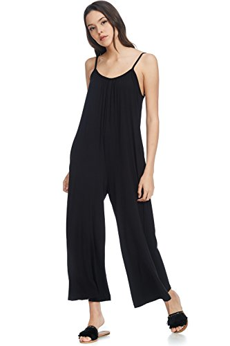 Alexander + David Women's Casual Loose Fit Jumper, Spaghetti Strap Sexy Jersey Jumpsuit Romper (Black, Medium)